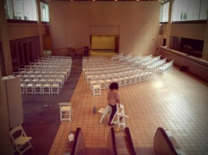 Khalilah O. Eco Chic Event Stylist . Setting up chairs in a half curve style for #Innovate Raleigh